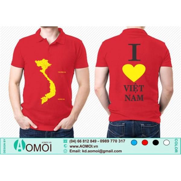 Áo cờ đỏ sao vàng Tôi Yêu Việt Nam cổ bẻ