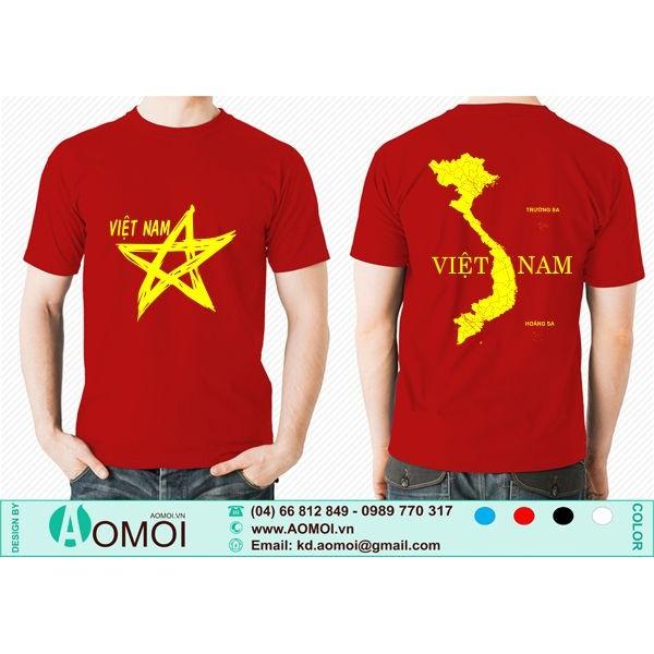 Áo cờ đỏ sao vàng Việt Nam cổ tròn