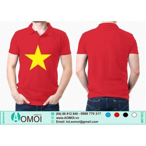 Áo cờ đỏ sao vàng cổ bẻ đỏ