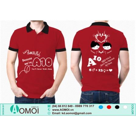 Áo đỏ đô cổ đen lớp A10