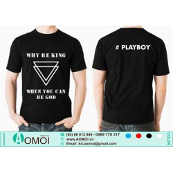Áo cổ tròn đen Play Boy