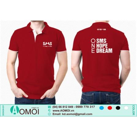 Áo lacoste đỏ SMS phối nẹp tay trắng