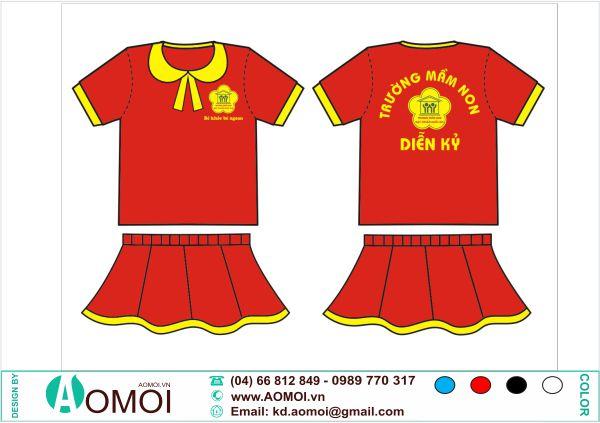 Mẫu áo đồng phục mầm non váy dành cho bé gái